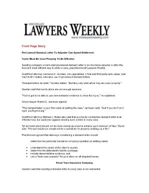 Fillable Online Pre-lawsuit demand letter to insurance adjuster ...
