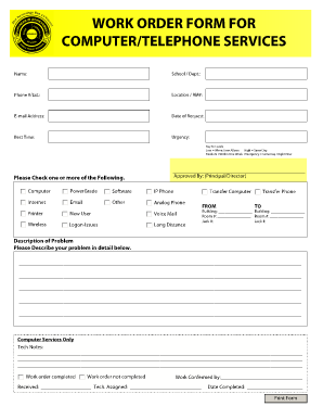 work order form for computertelephone