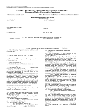 2001 contract of sale cooperative apartment form