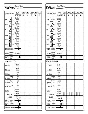 Yahtzee Score Sheet Online