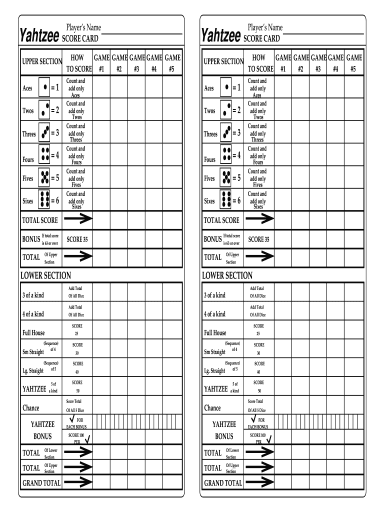 graphic regarding Printable Yahtzee Score Sheets 4 Per Page titled On the internet Yahtzee Rating Sheet - Fill On-line, Printable