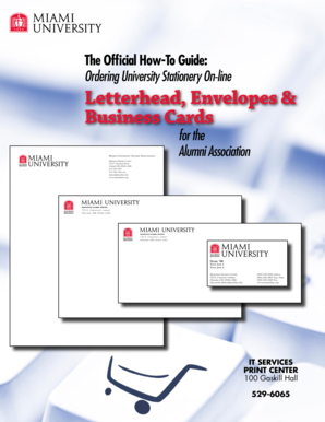 Letterhead, Envelopes & Business Cards - Miami University