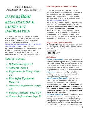 Fillable Online dnr illinois ILLINOIS Boat REGISTRATION & SAFETY ...