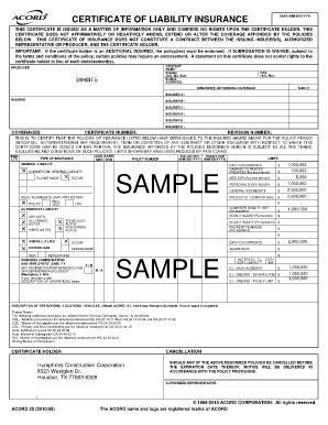 Acord Insurance Certificate Pdf