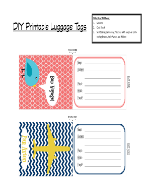 photo regarding Luggage Tags Printable identified as Printable Baggage Tags - Fill On the internet, Printable, Fillable