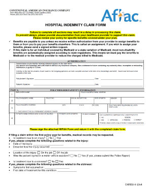 Aflac Hospital Indemnity Plan Wellness Benefit Claim Form - Fill ...