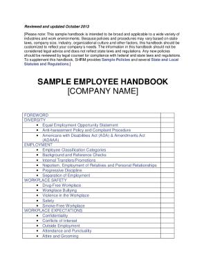 employee handbook template forms fillable printable samples for pdf word pdffiller. Black Bedroom Furniture Sets. Home Design Ideas