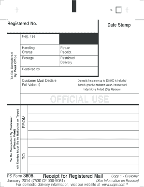 2014 Form Usps Ps 3806 Fill Online Printable Fillable Blank