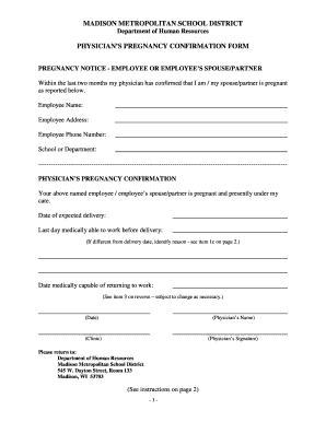 Physician S Pregnancy Confirmation Form Madison Human Fill