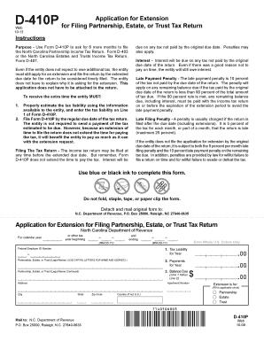 Print Version Nc Tax Extension Form D410p 2014 - Fill Online ...