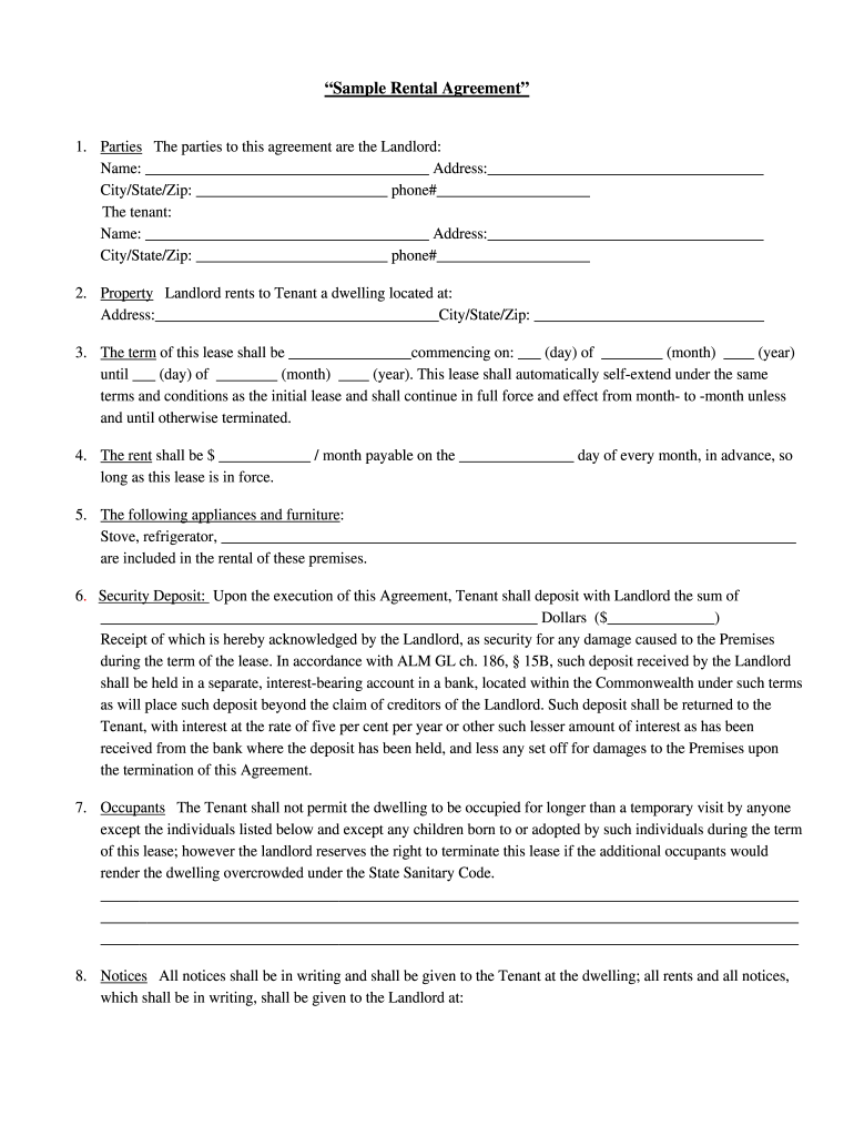This is a picture of Massif Printable Lease Agreement Form