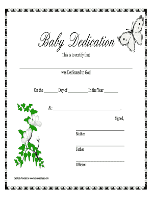 Baby Dedication Certificate Doc  Baby Dedication Certificates Templates