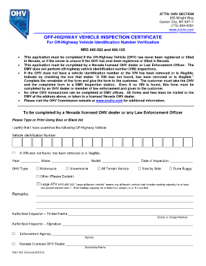 Fillable Online OHV 002 OHV VIN Inspection Certificate Fax Email ...