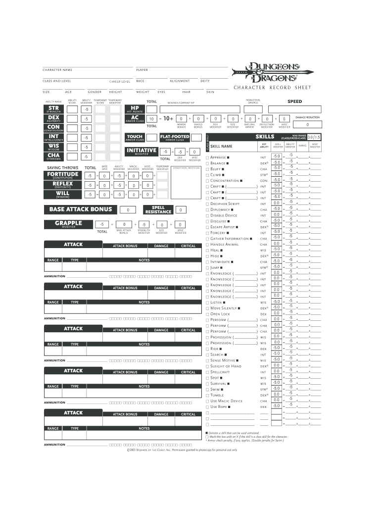 photograph relating to 5e Character Sheet Printable referred to as Dd Personality Sheet 35 Editable - Fill On line, Printable