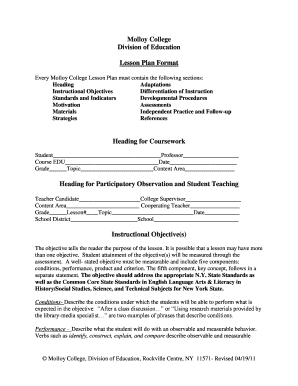 Molloy College Lesson Plan Template Fill Online Printable - College lesson plan template