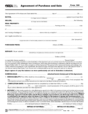 orea agreement of purchase and sale template  Fillable Online 100 - Agreement of Purchase and Sale. Residential ...