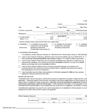 Cms100 Employment Application - Fill Online, Printable, Fillable ...