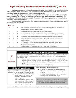 physical activity readiness questionnaire form