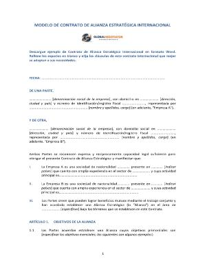 Fillable Online Modelo De Contrato De Alianza Estrat Gica