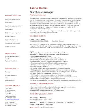 Warehouse manager CV template - Dayjob