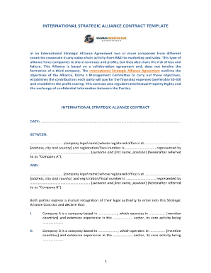 International Strategic Alliance Agreement ... - Globalnegotiator