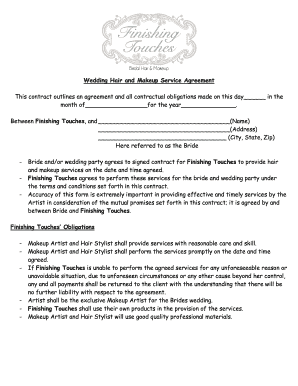 Makeup Agreement Form - Fill Online, Printable, Fillable, Blank ...