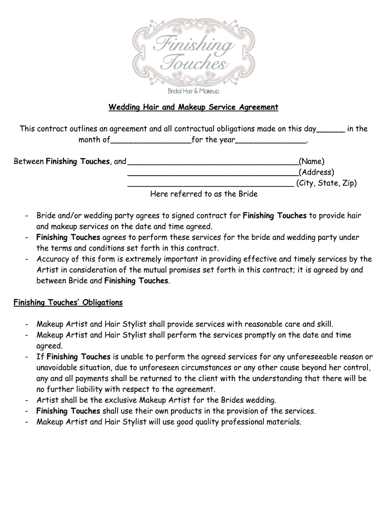 Makeup Agreement Form Fill Online Printable Fillable