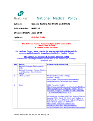 health net policy number Fillable Online Genetic Testing for BRCA1 and BRCA2 - Health Net Fax ...