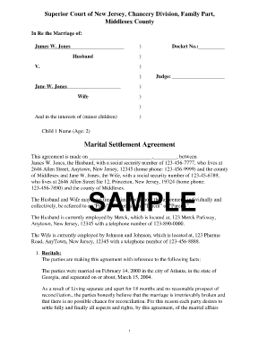 Divorce Settlement Agreement Fill Online Printable Fillable