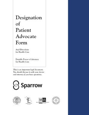 Fillable Online sparrow Designation of Patient Advocate Form ...