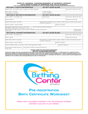 How Is Birth Certificate Information Louisiana Touro - Fill