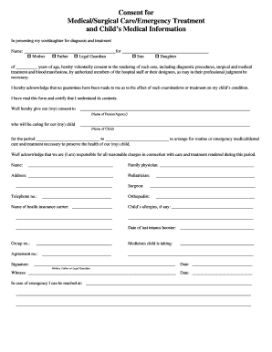 caregiver consent form Caregiver Consent Form For Medical Treatment Templates - Fillable ...
