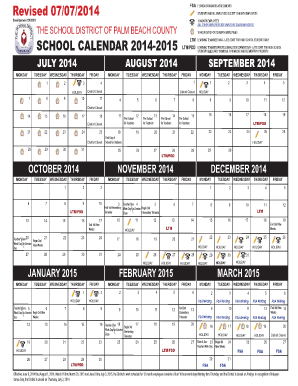 palm beach school district calendar 2015 form