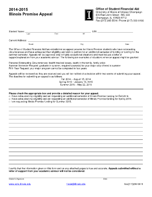 2014-15 Illinois Promise Appeal Form - Office of Student Financial Aid - osfa illinois