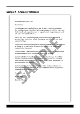 Character reference letter for court forms and templates fillable sample 5 character reference legal aid queensland spiritdancerdesigns Images