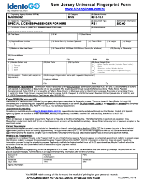 Nj Universal Fingerprint Formpdffillercom Fill Online Printable