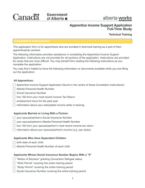 Fillable Online Apprentice Income Support Application Full