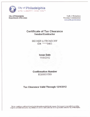 Fillable Online Philadelphia Tax Clearance - Becker & Frondorf Fax ...