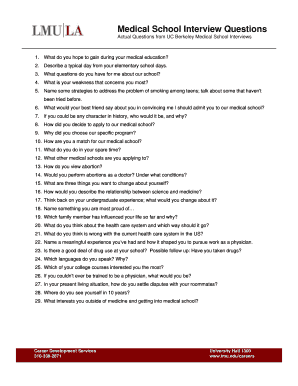 Fillable Online lmu Medical School Interview Questions
