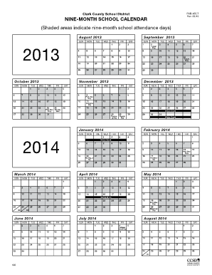 9 Month School Calendar - Clark County School District