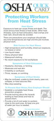 Fillable Online osha OSHA HEAT STRESS - Occupational Safety
