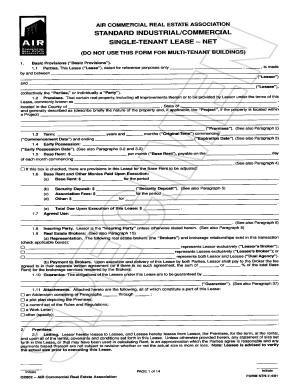 Fillable Online Single Tenant Lease Net 01