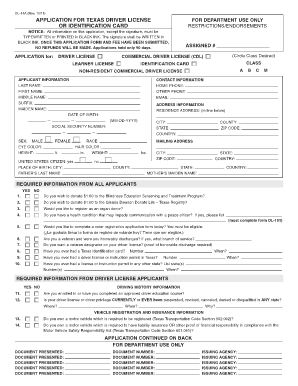 Fillable Online summer texasdhhresources DL-14A Application for ...