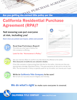 California Residential Purchase Agreement (RPA)? - Title Advantage