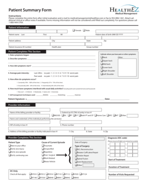Fillable Online Patient Summary Form - HealthEZ Fax Email Print ...