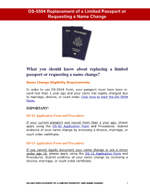 Ds-5504 replacing a limited passport or name change - American ...
