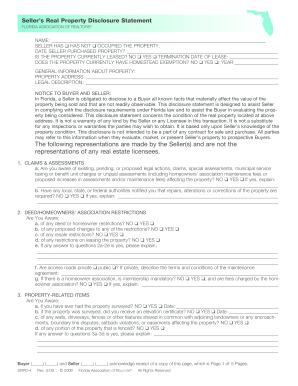 Fillable Online Florida Sellers Real Property Disclosure Form Fax ...