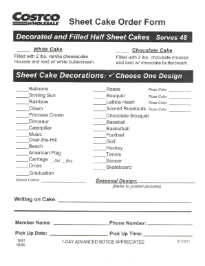 Costco Cakes Bakery Fill Online Printable Fillable