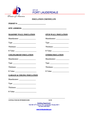 Fillable Online fortlauderdale Insulation Certificate - Fort ...