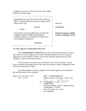 Suffolk county summons andcomplaint form printable fill online suffolk county summons andcomplaint form printable altavistaventures Gallery